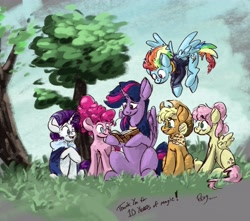 Size: 4653x4107 | Tagged: safe, artist:th3ipodm0n, applejack, fluttershy, pinkie pie, rainbow dash, rarity, twilight sparkle, alicorn, earth pony, pegasus, pony, unicorn, mlp fim's tenth anniversary, absurd resolution, anniversary, book, book of harmony, cape, clothes, female, flying, folded wings, grass, happy birthday mlp:fim, hoof hold, jacket, looking at something, mane six, mare, neckerchief, older, older applejack, older fluttershy, older mane six, older pinkie pie, older rainbow dash, older rarity, older twilight, open mouth, outdoors, reading, sitting, smiling, spread wings, tree, twilight sparkle (alicorn), wings