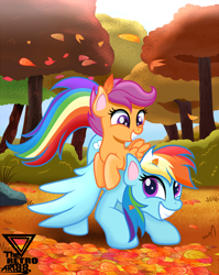 Size: 2900x3648   Tagged: safe, artist:theretroart88, rainbow dash, scootaloo, pegasus, pony, autumn, cute, cutealoo, dashabetes, duo, high res, leaves, scootalove, smiling, tree