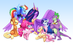 Size: 3776x2395   Tagged: safe, artist:scarlet-spectrum, applejack, fluttershy, pinkie pie, rainbow dash, rarity, spike, twilight sparkle, alicorn, dragon, earth pony, pegasus, pony, unicorn, mlp fim's tenth anniversary, the last problem, colored pupils, crown, female, gigachad spike, happy birthday mlp:fim, high res, jewelry, large wings, male, mane seven, mane six, mare, older, older applejack, older fluttershy, older mane seven, older mane six, older pinkie pie, older rainbow dash, older rarity, older spike, older twilight, princess twilight 2.0, regalia, sitting, smiling, speedpaint available, spread wings, twilight sparkle (alicorn), winged spike, wings
