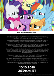 Size: 2480x3508 | Tagged: safe, applejack, fluttershy, pinkie pie, rainbow dash, rarity, twilight sparkle, mlp fim's tenth anniversary, the last problem, crying, group hug, happy birthday mlp:fim, hug, poster, sad smile, tears of joy, watermark