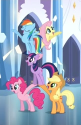 Size: 700x1080   Tagged: safe, screencap, applejack, fluttershy, pinkie pie, rainbow dash, twilight sparkle, earth pony, pegasus, pony, unicorn, games ponies play, balancing, cropped, cute, eyes closed, female, happy, mare, open mouth, pony pile, smiling, tower of pony, unicorn twilight