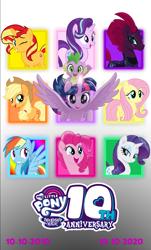 Size: 5139x8514 | Tagged: safe, artist:ejlightning007arts, applejack, fizzlepop berrytwist, fluttershy, pinkie pie, rainbow dash, rarity, spike, starlight glimmer, sunset shimmer, tempest shadow, twilight sparkle, alicorn, dragon, earth pony, pegasus, pony, unicorn, mlp fim's tenth anniversary, 10, 2010, 2020, applejack's hat, armor, broken horn, counterparts, cowboy hat, custom, eyes closed, group, happy, happy birthday mlp:fim, hat, horn, mane seven, mane six, one eye closed, open mouth, photo, poster, spread wings, twilight sparkle (alicorn), twilight's counterparts, wings, wink