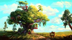 Size: 1280x720 | Tagged: safe, artist:plainoasis, mlp fim's tenth anniversary, cloud, golden oaks library, happy birthday mlp:fim, lantern, no pony, painting, scenery, scenery porn, sky, telescope, tree