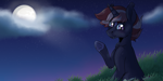 Size: 2000x1000 | Tagged: safe, artist:shootingstaryt, oc, oc only, oc:scarlet dawn, bat pony, hybrid, original species, pony, unicorn, children of harmony, cloud, fangs, grass, hooves, moon, moonlight, night, night sky, nightsky, original art, outdoors, sky, solo, stars