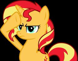 Size: 507x396 | Tagged: safe, artist:nano23823, sunset shimmer, pony, unicorn, base used, female, mare, rainbow dash salutes, salute, simple background, solo, transparent background