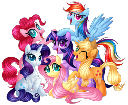 Size: 1782x1467 | Tagged: safe, artist:andypriceart, artist:kimmyartmlp, applejack, fluttershy, pinkie pie, rainbow dash, rarity, twilight sparkle, earth pony, pegasus, pony, unicorn, mlp fim's tenth anniversary, cute, female, happy birthday mlp:fim, looking at you, lying down, mane six, mane six opening poses, mare, one eye closed, open mouth, prone, raised hoof, simple background, sitting, smiling, transparent background, unicorn twilight, wings, wink