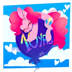 Size: 2048x2048 | Tagged: safe, artist:wutanimations, pinkie pie, earth pony, pony, mlp fim's tenth anniversary, balloon, cloud, cute, diapinkes, ear fluff, eyes closed, female, floating, happy birthday mlp:fim, heart, high res, lying down, mare, prone, sky, smiling, solo, then watch her balloons lift her up to the sky