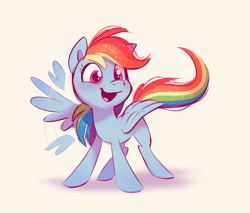Size: 3054x2597 | Tagged: safe, artist:imalou, rainbow dash, pegasus, pony, cute, daaaaaaaaaaaw, dashabetes, featured image, female, flapping, happy, hnnng, looking at you, mare, open mouth, simple background, smiling, solo, spread wings, sweet dreams fuel, waving, weapons-grade cute, white background, wing hands, wing wave, wings