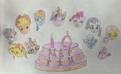 Size: 1280x786 | Tagged: safe, artist:jwwprod, applejack, fluttershy, moondancer, pinkie pie, rainbow dash, rarity, spike, starlight glimmer, sunset shimmer, trixie, twilight sparkle, pegasus, pony, unicorn, mlp fim's tenth anniversary, anniversary, anniversary art, cake, food, happy 10th anniverary mlp: fim, happy birthday mlp:fim, mane seven, mane six, traditional art