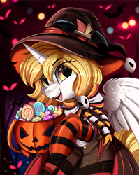 Size: 2550x3209 | Tagged: safe, artist:pridark, part of a set, oc, oc only, oc:kirarane, alicorn, pony, alicorn oc, candy, clothes, commission, female, food, halloween, hat, high res, holiday, horn, jack-o-lantern, mare, open mouth, pumpkin, socks, solo, striped socks, wings, witch hat, ych result