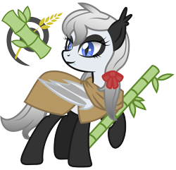 Size: 2500x2410 | Tagged: safe, artist:magnusmagnum, oc, oc only, oc:bamboo mistshadow, bat pony, bear, panda, panda pony, bamboo, bat pony oc, bat wings, bow, cape, clothes, cutie mark, ear fluff, fangs, looking at something, raised hoof, ribbon, show accurate, simple background, smiling, solo, transparent background, wings