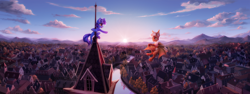 Size: 3020x1133 | Tagged: safe, artist:inowiseei, oc, oc only, oc:windows 8, bat, pony, unicorn, city, commission, duo, female, flying, house, mare, mountain, open mouth, river, scenery, scenery porn, smiling, sun, town, wing arms