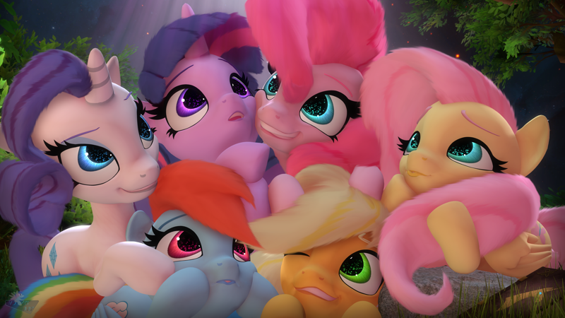 Size: 3840x2160 | Tagged: safe, artist:hooves-art, applejack, fluttershy, pinkie pie, rainbow dash, rarity, twilight sparkle, alicorn, earth pony, pegasus, pony, unicorn, mlp fim's tenth anniversary, 3d, 4k, :o, :p, cheek squish, cuddle puddle, cuddling, cute, dashabetes, diapinkes, featured image, female, grin, happy birthday mlp:fim, jackabetes, looking up, mane six, mare, one eye closed, open mouth, pony pile, raribetes, shyabetes, smiling, source filmmaker, squee, squishy cheeks, sweet dreams fuel, tongue out, twiabetes, wink