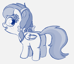 Size: 609x526   Tagged: safe, artist:heretichesh, oc, oc:angel blossom, pegasus, pony, bow, butt, female, filly, freckles, hair bow, happy, looking back, monochrome, pigtails, sketch, smiling