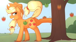 Size: 3200x1800 | Tagged: safe, artist:ratofdrawn, applejack, earth pony, pony, mlp fim's tenth anniversary, apple, apple tree, applebucking, dock, female, food, happy birthday mlp:fim, mare, nose wrinkle, profile, solo, sweat, tree