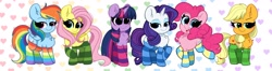 Size: 4096x1087 | Tagged: safe, artist:kittyrosie, applejack, fluttershy, pinkie pie, rainbow dash, rarity, twilight sparkle, alicorn, earth pony, pegasus, pony, unicorn, blushing, chest fluff, clothes, cute, dashabetes, diapinkes, dreamworks face, ear fluff, female, hatless, high res, jackabetes, lidded eyes, looking at you, mane six, mare, missing accessory, open mouth, open smile, rainbow socks, raribetes, simple background, smiling, smiling at you, socks, striped socks, thigh highs, twiabetes, twilight sparkle (alicorn)