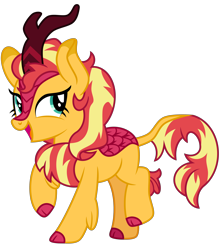 Size: 4600x5200   Tagged: safe, artist:emeraldblast63, sunset shimmer, kirin, female, kirin sunset, kirin-ified, looking at you, open mouth, show accurate, simple background, solo, species swap, transparent background