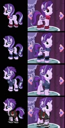 Size: 777x1529 | Tagged: safe, starlight glimmer, pony, unicorn, 3d, alternate hairstyle, clothes, ear piercing, earring, edgelight glimmer, gameloft, goth, jewelry, makeup, piercing, solo