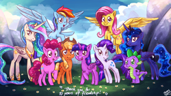 Size: 2560x1440 | Tagged: safe, artist:the-barinade, applejack, fluttershy, pinkie pie, princess celestia, princess luna, rainbow dash, rarity, spike, twilight sparkle, alicorn, earth pony, pegasus, pony, unicorn, mlp fim's tenth anniversary, cloud, cloudy, cute, flower, flying, foliage, grass, grass field, group, group photo, group shot, happy, happy birthday mlp:fim, looking at you, mane seven, mane six, mountain, mountain range, pose, scenery, smiling, smirk, twilight sparkle (alicorn)