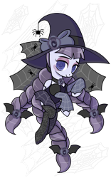 Size: 1024x1645 | Tagged: safe, artist:kb-gamerartist, artist:parclytaxel, inky rose, pegasus, pony, spider, alternate hairstyle, blushing, bow, clothes, costume, eyeshadow, female, hair bow, halloween, halloween costume, hat, holiday, makeup, mare, nightmare night, nightmare night costume, shirt, simple background, socks, solo, spider web, stockings, thigh highs, transparent background, wingding eyes, witch, witch costume, witch hat
