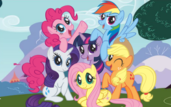 Size: 7238x4524   Tagged: artist needed, source needed, useless source url, safe, applejack, fluttershy, pinkie pie, rainbow dash, rarity, twilight sparkle, earth pony, pegasus, pony, unicorn, official, season 1, absurd resolution, applejack's hat, cowboy hat, cutie mark, female, group photo, group shot, hat, looking at you, lying down, mane six, mane six opening poses, mare, official art, one eye closed, open mouth, palindrome get, prone, raised hoof, spread wings, stetson, tree, unicorn twilight, wallpaper, wings, wink