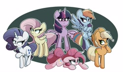 Size: 4096x2403 | Tagged: safe, artist:kindakismet, mean applejack, mean fluttershy, mean pinkie pie, mean rainbow dash, mean rarity, mean twilight sparkle, alicorn, earth pony, pegasus, pony, unicorn, the mean 6, abstract background, clone, crossed hooves, floppy ears, high res, lying down, mean six, open mouth, prone, simple background, white background