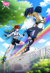 Size: 2264x3302 | Tagged: safe, artist:mauroz, rainbow dash, soarin', human, anime, anime style, blue hair, blushing, building, bush, butt, clothes, cloud, compression shorts, duo, ecstasy, female, fence, fingerless gloves, gloves, green eyes, happy, high res, humanized, in love, looking at each other, male, multicolored hair, muscles, muscular male, open mouth, outdoors, parkour, pink eyes, rainbow, rainbow hair, shiny clothing, shiny skin, shipping, shirt, shoes, shorts, sky, smiling, sneakers, soarindash, straight, summer, t-shirt, tomboy, tree