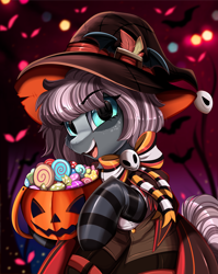 Size: 2550x3209 | Tagged: safe, artist:pridark, part of a set, oc, oc:raven, alicorn, earth pony, pony, alicorn oc, candy, clothes, commission, female, food, freckles, halloween, hat, high res, holiday, horn, jack-o-lantern, mare, open mouth, pumpkin, pumpkin bucket, socks, solo, striped socks, wings, witch hat, ych result