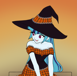 Size: 945x928 | Tagged: safe, artist:rileyav, sonata dusk, equestria girls, adorasexy, big eyes, blushing, breasts, busty sonata dusk, cleavage, clothes, costume, cute, dress, eyelashes, eyeshadow, female, frilly, frilly dress, gradient background, hat, lace, long hair, makeup, open mouth, plaid, red eyes, sexy, shoulderless, smiling, solo, sonatabetes, strapless, witch, witch hat