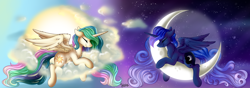 Size: 8186x2894 | Tagged: safe, artist:julunis14, princess celestia, princess luna, alicorn, pony, mlp fim's tenth anniversary, alternate hairstyle, anniversary art, cloud, crescent moon, day, duo, eyes closed, happy birthday mlp:fim, missing accessory, moon, night, royal sisters, sisters, sleeping, sun, tangible heavenly object