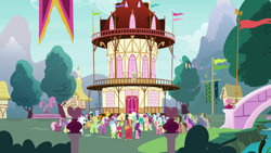 Size: 1920x1080 | Tagged: safe, screencap, aloe, amber grain, apple bloom, berry blend, berry bliss, berry punch, berry sweet, berryshine, big macintosh, bon bon, carrot cake, cheerilee, cup cake, daisy, diamond tiara, doctor whooves, double diamond, filthy rich, flower wishes, fuchsia frost, granny smith, lilac swoop, lily, lily valley, loganberry, lotus blossom, maud pie, mayor mare, mudbriar, night view, octavia melody, peppe ronnie, pipsqueak, pound cake, pumpkin cake, roseluck, sandbar, silver spoon, slate sentiments, spoiled rich, sugar belle, sweetie drops, tender brush, time turner, winter lotus, earth pony, pony, the ending of the end, background pony, butt, colt, crowd, female, filly, flower trio, foal, fountain, friendship student, male, mare, plot, ponies standing next to each other, ponyville, ponyville town hall, stallion