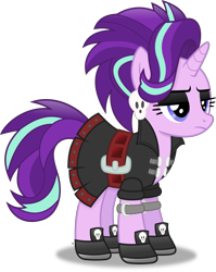 Size: 3377x4248 | Tagged: safe, artist:anime-equestria, starlight glimmer, unicorn, alternate hairstyle, belt, clothes, dress, ear piercing, edgelight glimmer, eyeshadow, female, frown, gameloft, gameloft interpretation, goth, jacket, makeup, mare, piercing, shoes, simple background, skirt, skull, solo, transparent background, vector