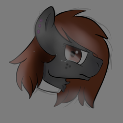 Size: 2800x2800 | Tagged: safe, artist:dicemarensfw, oc, oc:dicemare, pegasus, pony, angry, bust, colored, crying, depression, doodle, ear piercing, female, freckles, frown, gauges, looking back, mare, piercing, portrait, practice, practice drawing, sad, sadness, shading, sketch, solo