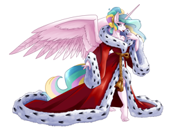 Size: 5700x4355 | Tagged: safe, artist:spiderweber, princess celestia, alicorn, crystal pony, ermine, anthro, plantigrade anthro, absurd resolution, alternate hairstyle, barefoot, bathrobe, beautiful, beautisexy, bedroom eyes, breasts, busty princess celestia, cleavage, clothes, elegant, eye clipping through hair, eyebrows visible through hair, eyelashes, feet, fur trim, hair bun, horn, lips, lipstick, long horn, looking at you, mantle, pink eyes, pinklestia, pose, praise the sun, red lipstick, robe, sash, seductive, seductive look, sexy, solo, spread wings, stupid sexy celestia, sultry pose, wings