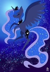Size: 1280x1817   Tagged: safe, artist:dawn-designs-art, princess luna, alicorn, pony, abstract, abstract art, abstract background, eyes closed, flying, modern art, solo