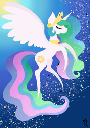 Size: 1748x2480   Tagged: safe, artist:dawn-designs-art, princess celestia, alicorn, pony, abstract, abstract art, abstract background, eyes closed, flying, modern art, solo, sunlight