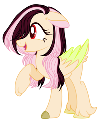 Size: 2065x2561   Tagged: safe, artist:thieeur-nawng, oc, oc only, oc:list shy, hybrid, pegasus, pony, eyelashes, female, interspecies offspring, mare, offspring, parent:discord, parent:fluttershy, parents:discoshy, pegasus oc, simple background, smiling, solo, two toned wings, white background, wings