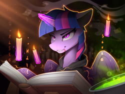 Size: 2300x1731 | Tagged: safe, artist:yakovlev-vad, twilight sparkle, alicorn, pony, blood, book, candle, clothes, fangs, female, fire, glowing horn, halloween, holiday, hoodie, horn, magic, mare, potion, smiling, smirk, solo, telekinesis, twilight sparkle (alicorn), witch