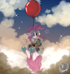 Size: 5112x5456 | Tagged: safe, artist:brainiac, derpibooru exclusive, pinkie pie, earth pony, pony, absurd resolution, balloon, bomber jacket, bottomless, brainiac is trying to murder us, clothes, colored hooves, cute, diapinkes, featured image, female, floating, flying, frog (hoof), goggles, hoofbutt, jacket, mare, parachute, partial nudity, smiling, solo, sweet dreams fuel, then watch her balloons lift her up to the sky, underhoof