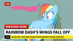 Size: 1280x720 | Tagged: safe, edit, edited screencap, screencap, rainbow dash, earth pony, pony, the return of harmony, break your own news, breaking news, cocaine, drugs, earth pony rainbow dash