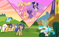 Size: 1920x1230 | Tagged: safe, artist:galaxyswirlsyt, cozy glow, luster dawn, queen chrysalis, twilight sparkle, oc, oc:apple pie, oc:destiny, oc:galaxy swirls, oc:party pie, oc:rainbow blitzes, oc:sky city, oc:velvet sentry, alicorn, changedling, earth pony, hybrid, pegasus, pony, unicorn, the last problem, alicornified, female, interspecies offspring, lustercorn, mare, offspring, older, older twilight, parent:applejack, parent:caramel, parent:cheese sandwich, parent:discord, parent:fancypants, parent:flash sentry, parent:fluttershy, parent:pinkie pie, parent:rainbow dash, parent:rarity, parent:soarin', parent:twilight sparkle, parents:carajack, parents:cheesepie, parents:discoshy, parents:flashlight, parents:raripants, parents:soarindash, princess twilight 2.0, purified chrysalis, twilight sparkle (alicorn)