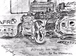 Size: 4032x2961   Tagged: safe, artist:magpulpony, oc, oc:strategic surprise, dracony, dragon, hybrid, pony, mlp fim's tenth anniversary, building, happy birthday mlp:fim, machine, monochrome, rear view, sitting, solo, time machine, traditional art