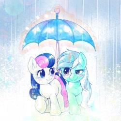 Size: 2048x2048 | Tagged: safe, artist:kurogewapony, bon bon, lyra heartstrings, sweetie drops, earth pony, pony, unicorn, adorabon, blushing, cute, female, lesbian, looking at each other, lyrabetes, lyrabon, mare, rain, shipping, smiling, umbrella