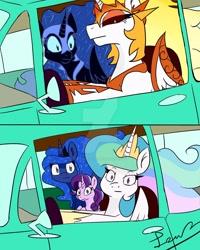 Size: 1280x1600 | Tagged: safe, artist:jynsherlock, daybreaker, nightmare moon, princess celestia, princess luna, starlight glimmer, alicorn, pony, unicorn, a royal problem, 2 panel comic, car, comic, driving, meme