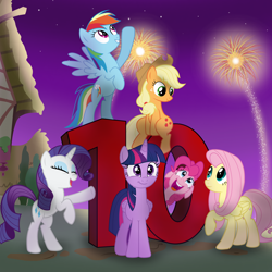 Size: 4000x4000 | Tagged: safe, artist:pizzamovies, applejack, fluttershy, pinkie pie, rainbow dash, rarity, twilight sparkle, alicorn, earth pony, pegasus, pony, unicorn, mlp fim's tenth anniversary, 10, bipedal, celebration, female, fireworks, happy birthday mlp:fim, looking at you, mane six, show accurate, smiling, stars, twilight sparkle (alicorn)