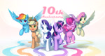 Size: 2704x1442 | Tagged: safe, artist:luciferamon, applejack, fluttershy, pinkie pie, rainbow dash, rarity, twilight sparkle, earth pony, pegasus, pony, unicorn, mlp fim's tenth anniversary, cute, eyes closed, flying, happy birthday mlp:fim, mane six, open mouth, unicorn twilight
