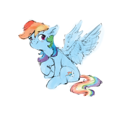 Size: 2770x2550 | Tagged: safe, artist:vanillaghosties, rainbow dash, pegasus, pony, cute, dashabetes, ear fluff, female, looking at you, mare, simple background, sitting, smiling, solo, white background, wings