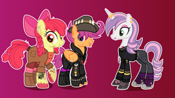 Size: 3080x1732 | Tagged: safe, artist:n0kkun, apple bloom, scootaloo, sweetie belle, earth pony, pegasus, pony, unicorn, alternate hairstyle, apple bloom's bow, badge, boots, bow, clothes, coat, commission, converse, cowboy boots, cutie mark crusaders, ear piercing, earring, eye scar, eyebrow piercing, eyeshadow, fedora, female, fingerless gloves, gloves, gradient background, hair bow, hat, headcanon, hoodie, horn, horn ring, jacket, jeans, jewelry, leather jacket, lip piercing, lipstick, makeup, male, mare, necklace, older, older apple bloom, older cmc, older scootaloo, older sweetie belle, pants, piercing, pin, raised hoof, ring, scar, scooteroll, shirt, shoes, shorts, socks, stallion, striped socks, stubble, t-shirt, tattoo, trans male, transgender, trio, unshorn fetlocks, wall of tags, wing piercing