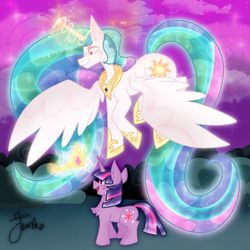 Size: 1000x1000 | Tagged: safe, artist:junko, princess celestia, twilight sparkle, alicorn, pony, unicorn, mlp fim's tenth anniversary, canterlot gardens, chest fluff, cloud, crown, cute, ethereal mane, ethereal tail, female, filly, filly twilight sparkle, flying, happy birthday mlp:fim, jewelry, levitation, looking down, magic, magic aura, mare, momlestia, regalia, signature, smiling, spread wings, telekinesis, twiabetes, unicorn twilight, wings, younger