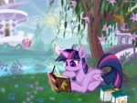 Size: 4000x3000 | Tagged: safe, artist:rrd-artist, twilight sparkle, bird, pony, unicorn, mlp fim's tenth anniversary, friendship is magic, bag, book, book of harmony, canterlot, female, happy birthday mlp:fim, magic, mare, reading, saddle bag, scene interpretation, sun, tree, unicorn twilight